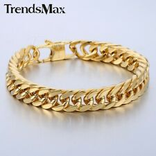 Link Gold 316L Stainless Steel Bracelet 10mm 8inch Mens Chain Double Curb Cuban