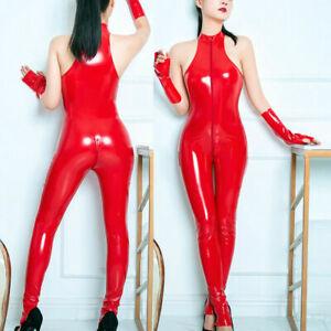Womens Sexy Lingerie PU Leather Bodysuit Catsuit Jumpsuit Club Leotard Romper