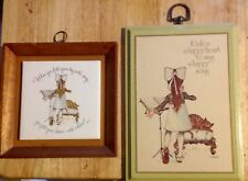 Holly Hobbie Happy Heart Song Vintage Plaque Pair