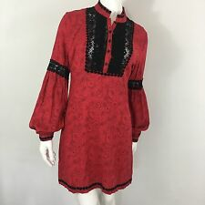 Free People Red Tribal Grunge Dress 8 Festival Long Sleeve Crochet Paisley Black