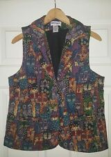 Serengeti Kitten Cat Tapestry Carpet Blazer Vest Small Women's Lined 3 Pockets