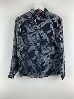 Womens Ladies Shirt Top Blouse Velvet Mix Grey/black Richards Size 10 Uk *6