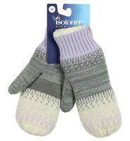 ISOTONER Signature Women's Warm Lined Acrylic Knit Mittens One Size Purple Gray