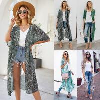 Womens Bohemia Floral Long Chiffon Tops Kimono Holiday Beach Cardigan Coat Loose