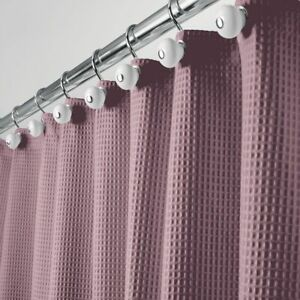 "mDesign Waffle Weave Fabric Shower Curtain - 72"" Long - Plum Purple"