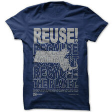 REUSE! Because You Can't Recycle The Planet Massachusetts T-shirt Large Blue