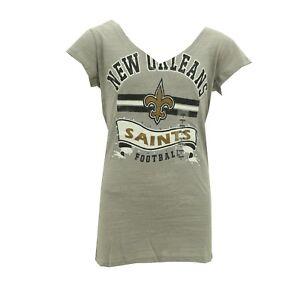 New Orleans Saints Official NFL Juniors Teen Girls Size Distressed Sheer T-Shirt