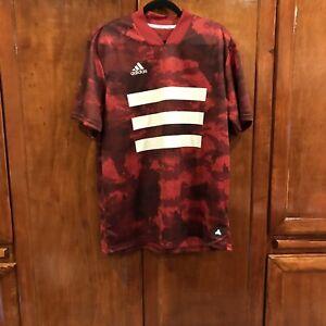 Adidas Tan Graphic AOP Men's Digital Camo Red Soccer Jersey DZ9537 Medium M NWT