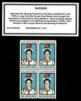 1961 - NURSING - Vintage Block of Four Mint U.S. Postage Stamps