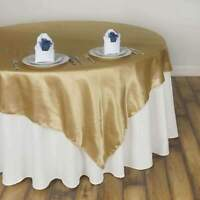 """10 Pack 60""""x60""""  ~NEW~ Satin Square Overlay Wedding Party Banquet 15+ Colors!"""