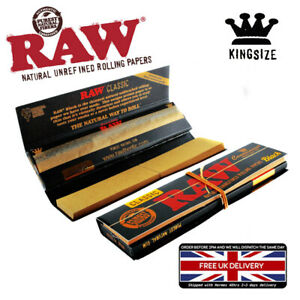 RAW BLACK PAPERS WITH ROACH TIPS KING SIZE SLIM HAND ROLLING PAPERS TOBACCO