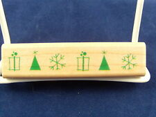 NEW INKADINKADO WOOD MOUNTED RUBBER STAMP TREES PRESENTS & SNOWFLAKES 95915 318