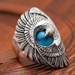 Stainless Steel Band Hawk Eagle Ring Turquoise Bird Mens Punk Biker Silver #6-10