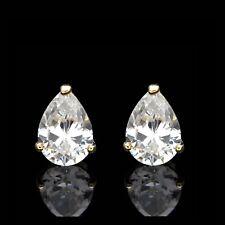 1.5ct Pear Shape Earrings Created Diamond Studs 14K Yellow Gold Heavy Basket