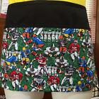 Black novelty print 3 pocket waist apron restaurant server waitress football