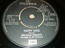 """MALCOLM ROBERTS * HAPPY SONG * 7"""" SINGLE EXCELLENT 1972 COLUMBIA DB 8960"""