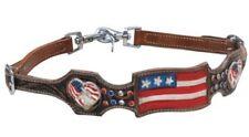 Showman American Flag USA Heart Concho Rhinestone Wither Strap 2 Scissor Snaps