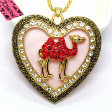 New Betsey Johnso Red Bling Cute Camel Badge Crystal Pendant Women Necklace