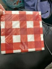 Red & White Gingham Beverage Napkins 2-Ply - 16 Count New!!!