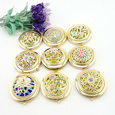 New Mini Gold Handheld Mirrors Beauty Hollow Folding Cosmetic Compact Mirror