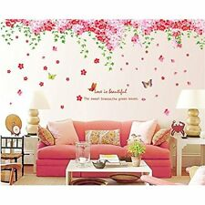 Large Huge Fashion Pink Romantic Cherry Blossom Flower Vine Butterfly Wall Decal