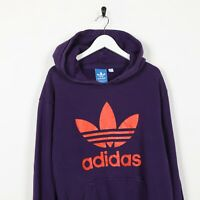 Vintage ADIDAS ORIGINALS Big Trefoil Logo Hoodie Sweatshirt Purple | Large L