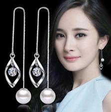 925 Sterling Silver Pleated Women Crystal Pearl Drop Dangle Long Earrings Gift