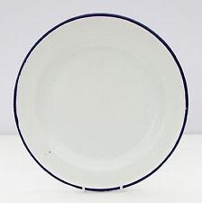 Vintage Retro White Blue Enamel Plate