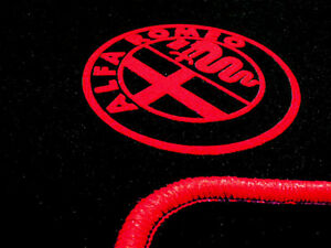 Black velours floormats for Alfa Romeo Mito 2008–2018  with red Alfa Logo