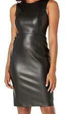 Black Leather Sheath Dress By Calvin Klein