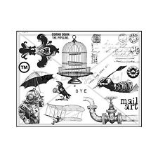 Unmounted/Uncut Rubber Stamp Sheet, Birdcage, Diver, Pipe, Steampunk, Postcard