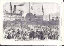 "RESTORED ORIGINAL PRINT 1860 ""THE LANDING OF THE JAPANESE EMBASSY W TREATY"""