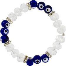 Evil Eye Ward Blue and Clear Beads Bracelet!