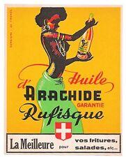 LABEL FRENCH PEANUT OIL HUILE ARACHIDE RUFISQUE BLACK WOMAN