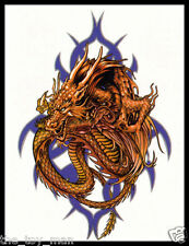 TRIBAL DRAGON BEAST TEMPORARY BODY TATTOO STICKER FOR MEN~NECK ARM BACK LEG #11