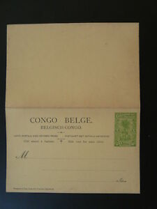 palm tree postal stationery card with reply Belgian Congo 79024