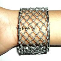 Natural Rose Cut Diamond & Diamond Polki Gold & Sterling Silver Bangle Bracelet