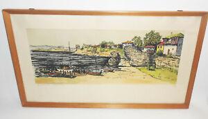 Original Lithografie Nessebar Bulgarien Hafen signiert um 1960/70 Retro Vintage