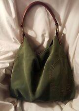 Lucky Brand Moss Green Suede Slouchy Hobo Shoulder Bag Handbag