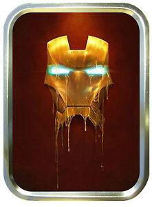 Iron Man Face 2oz Gold Tobacco Tin, Airtight Tobacco Tin, Storage Tin