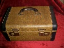 Vintage Tweed and Leather Train Case Make-Up Cosmetic Case Suitcase