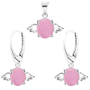 925 Sterling Silver Angel Wings Opal Leverback Earrings, Pendant, Necklace & Set