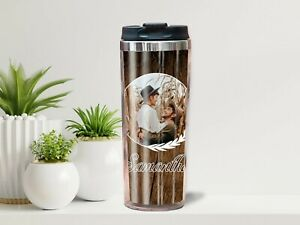 Personalised travel mug gift with your name & photo