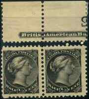 Canada #34 mint F-VF OG NH 1882 Queen Victoria 1/2c black Small Queen Pair
