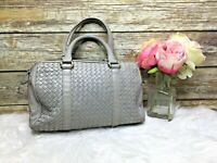 Vintage Ganson Gray Braided Woven Leather Purse Satchel Hand Bag