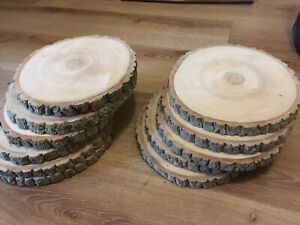 10x  Real Wood Slices Dried Sanded Real Wood Log Table Pieces 18-20x2cm