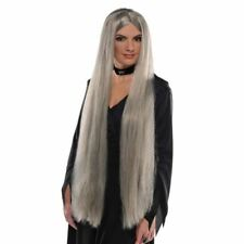 Ladies Long Grey Wig Womens Halloween Witch Fancy Dress Costume