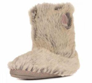 "Bedroom Athletics ""Cole"" Sand Fox faux fur calf boot slipper Small UK 3-4 New!"