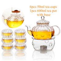 600ml Pumpkin 6 Cups+Taepot+Warmer Clear Tea Double Wall Glass Pot Infuser