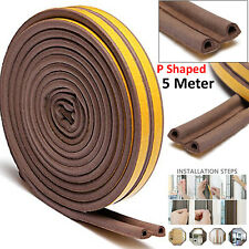 5M Draught Draft Excluder Self Adhesive Rubber Door Window Seal Strip Roll Tape